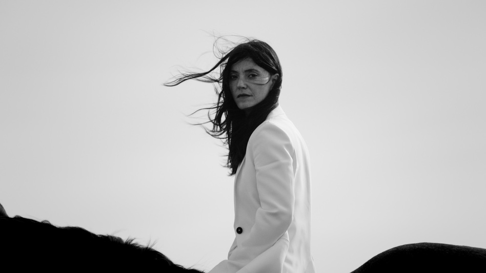 "Sharon Van Etten astride a horse for her ""Beaten Down"" video. (YouTube)"