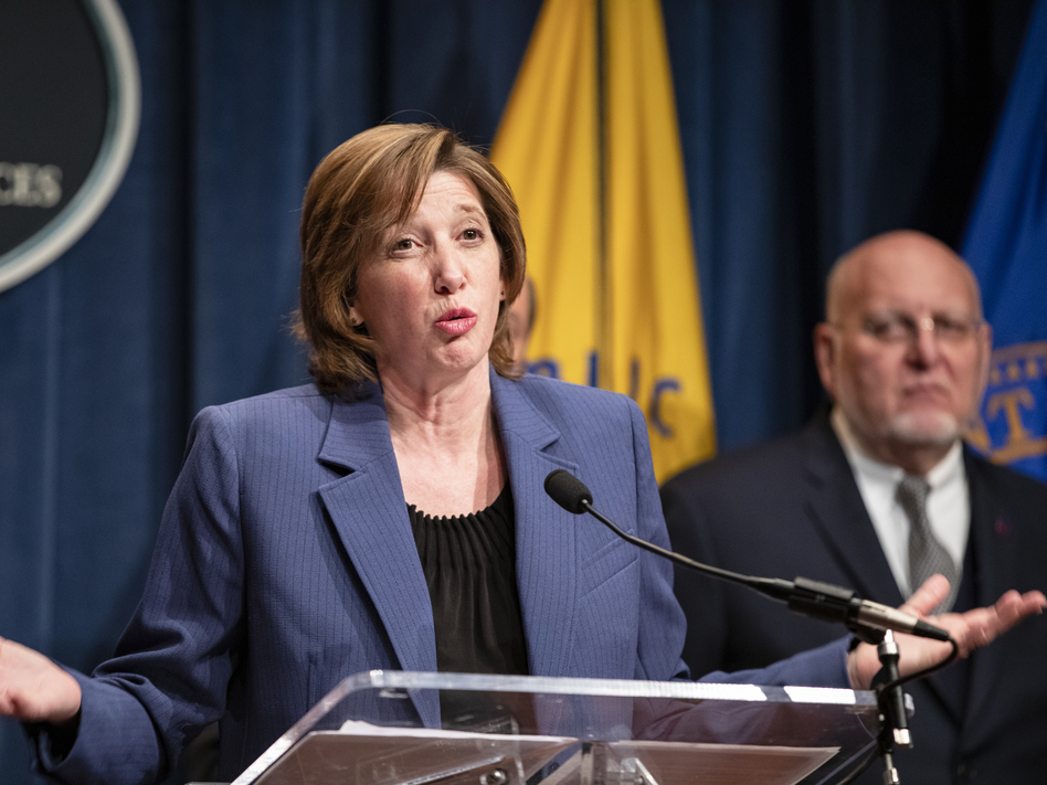 National Center for Immunization and Respiratory Diseases Director Dr. Nancy Messonnier, speaks during a news conference in January. Messonnier on Friday defended the CDC's handling of a new coronavirus case in California. (Samuel Corum/Getty Images)