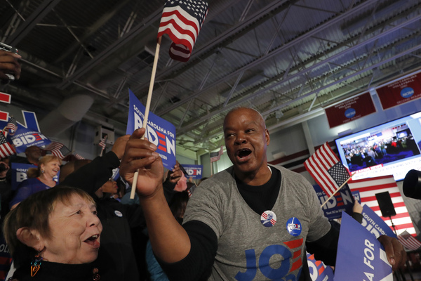 Charles McClam cheers at a primary election night rally for Democratic presidential candidate Joe Biden in Columbia, S.C., on Saturday.