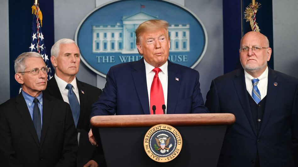 President Trump speaks at the White House about the U.S. response to the spread of the novel coronavirus. (Roberto Schmidt/AFP via Getty Images)