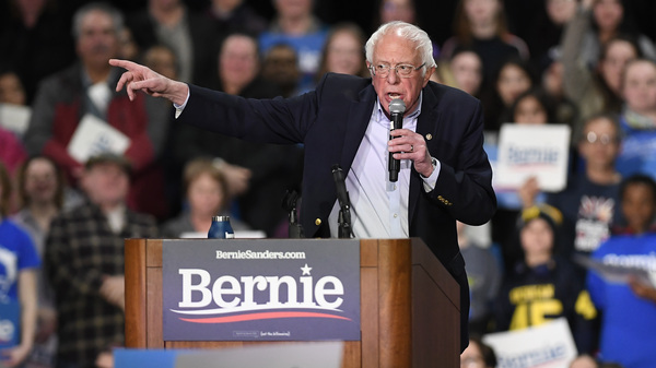 Bernie Sanders speaks during a campaign event in Massachusetts on Friday. Massachusetts is one of the states that vote on Super Tuesday. On Saturday, Sanders was in another Super Tuesday state, Virginia.