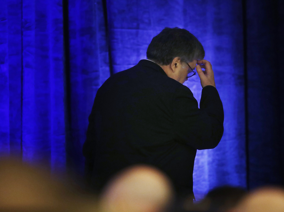 Attorney General William Barr leaves after a speech to an International Association of Chiefs of Police symposium in February in Miami. (Brynn Anderson/AP)