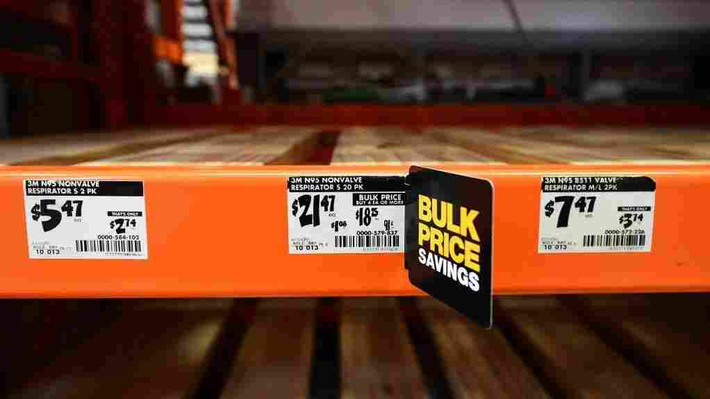 Empty shelves for N95 masks are seen at a Home Depot store in Alhambra, California on February 4, 2020.