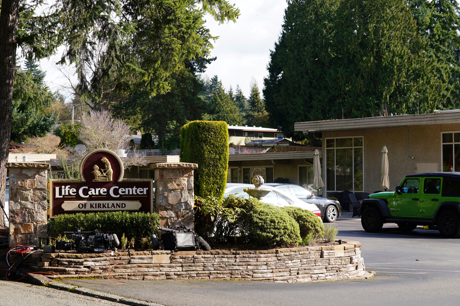 The Life Care Center of Kirkland where a number of residents have become infected with Covid-19. Kirkland, Washington, Sunday, February 29, 2020. (Ryan Henriksen/Reuters)