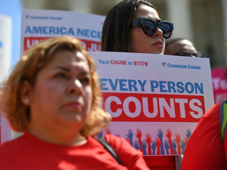 Demonstrators rally in Washington, D.C., in April 2019 against the now-blocked citizenship question that the Trump administration tried and failed to get on the 2020 census forms. (Mandel Ngan/AFP via Getty Images)