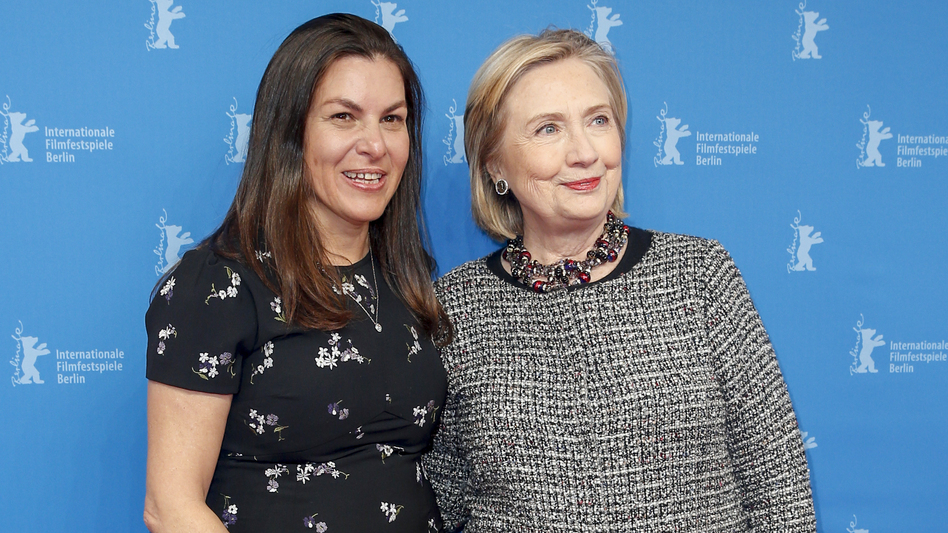 Filmmaker Nanette Burstein and Hillary Clinton pose at the <em>Hillary</em> premiere during the 70th Berlinale International Film Festival on Feb. 24, 2020 in Berlin. (Isa Foltin/WireImage)