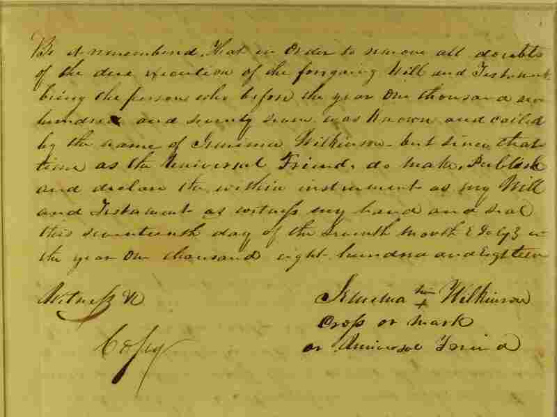 The last page of the Public Universal Friend's will. They died on July 1, 1819.