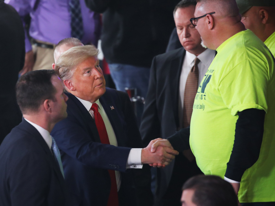 President Trump greets a supporter following a Fox News Town Hall Thursday in Scranton, Pa. (Spencer Platt/Getty Images)