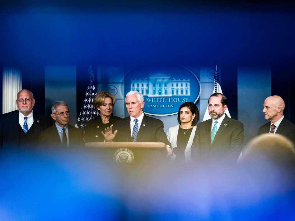 Vice President Mike Pence leads a press briefing along with members of the Coronavirus Task Force formed by the White House in response to the outbreak. (Jabin Botsford/The Washington Post via Getty Images)