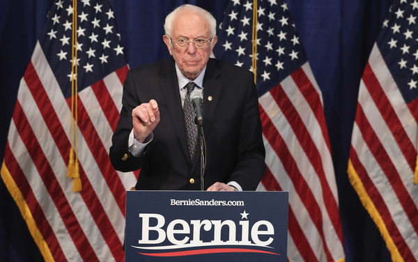 Sen. Bernie Sanders speaks to reporters on Wednesday in Burlington, Vt., about his plans to stay in the 2020 Democratic presidential race.