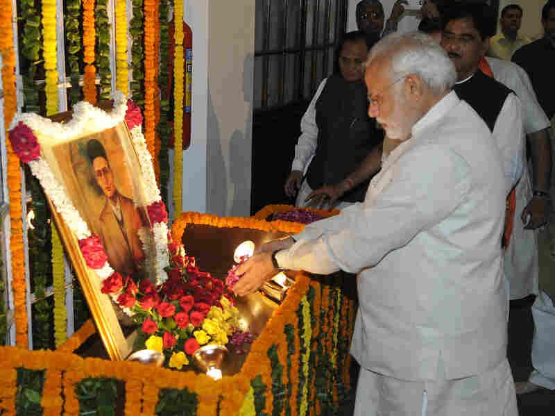 On May 28, 2014 in New Delhi, India, Prime Minister Narendra Modi pays tribute to Vinayak Savarkar on Savarkar's birthday.