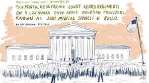 Sketchbook: Abortion Demonstrators Face Off On Steps Of Supreme Court