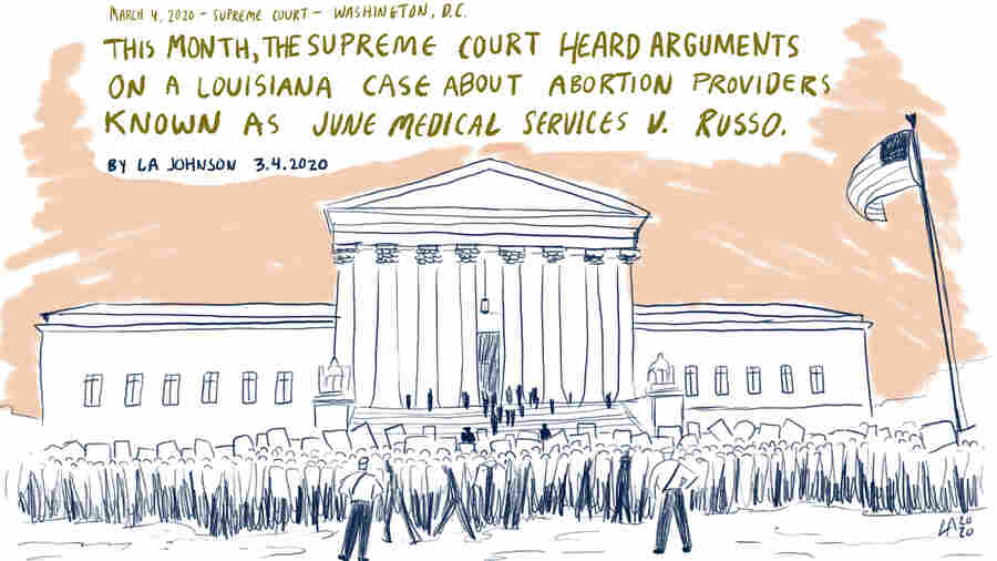 Sketchbook: Abortion Demonstrators Face Off On Steps Of Supreme Court