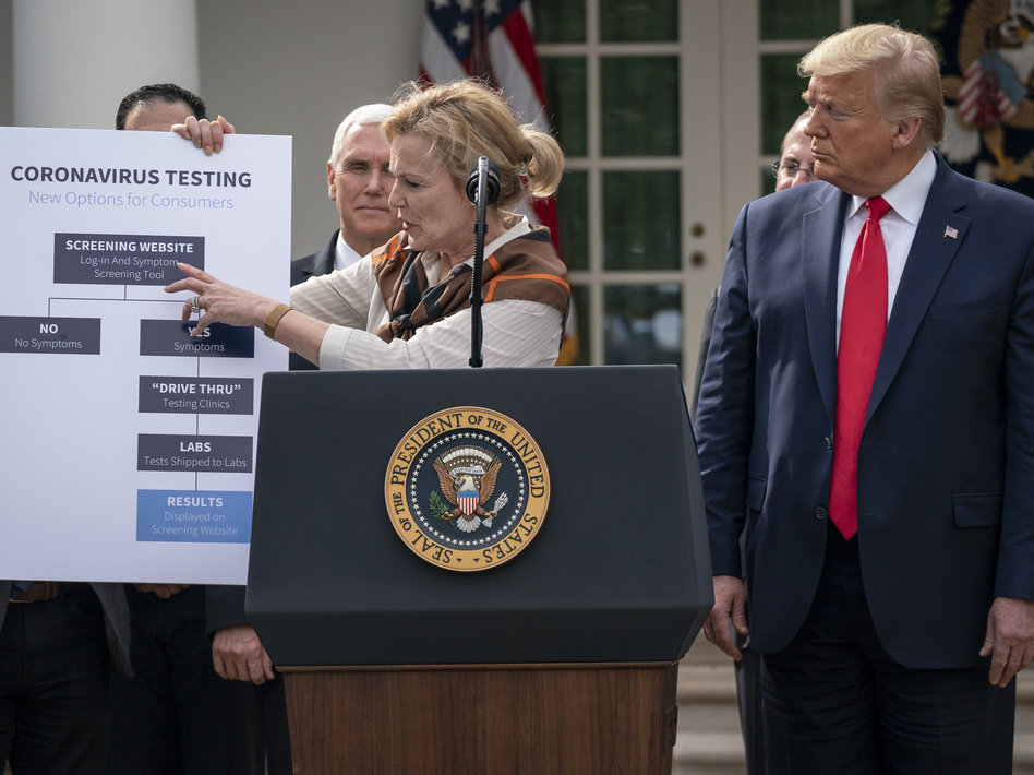 White House coronavirus response coordinator Dr. Deborah Birx shows how coronavirus testing will be streamlined at the press conference. (Drew Angerer/Getty Images)