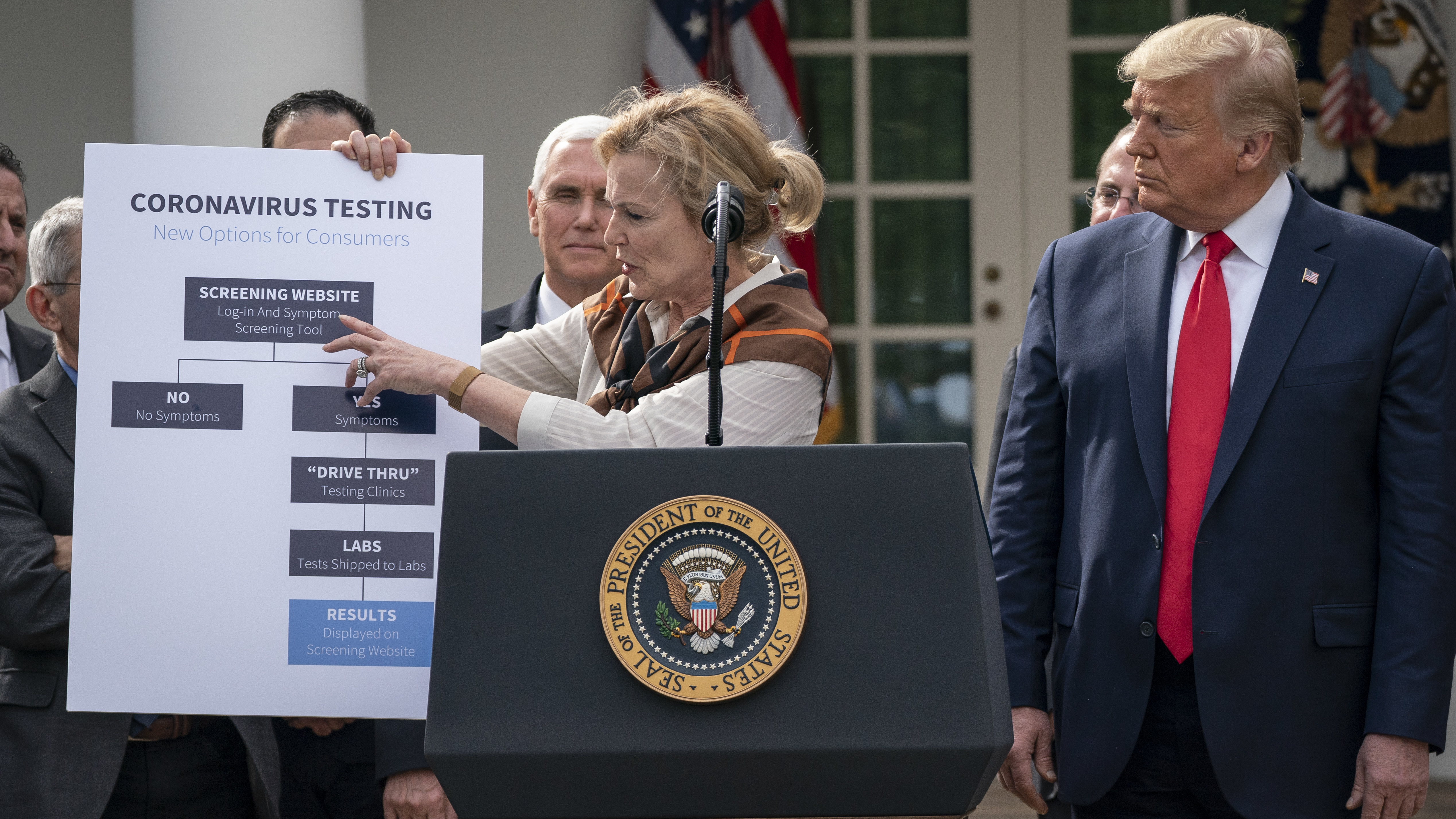 White House coronavirus response coordinator Dr. Deborah Birx shows how coronavirus testing will be streamlined at the press conference.