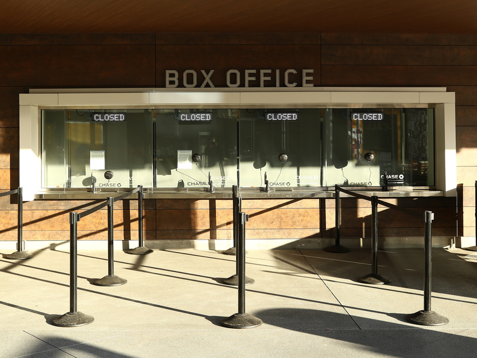A box office is closed at the Chase Center in San Francisco, where the Golden State Warriors were to play the Brooklyn Nets on Thursday. The NBA season has been suspended due to the outbreak of coronavirus. (Ezra Shaw/Getty Images)