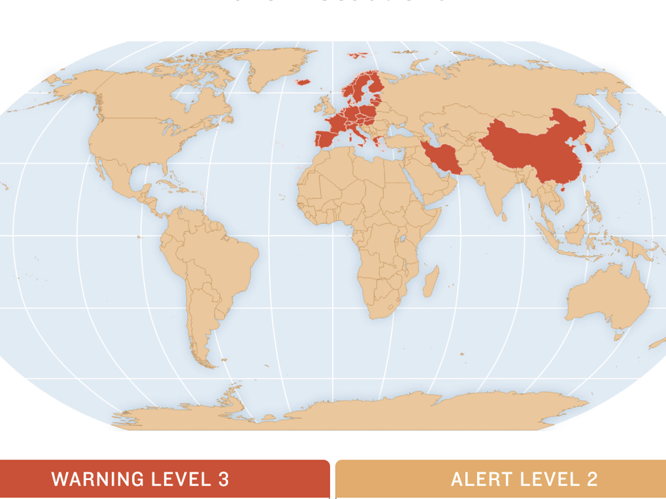 CDC advisories as of March 12. (NPR)