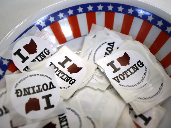 """I Voted"" stickers are seen at a polling place Sunday in Steubenville, Ohio."
