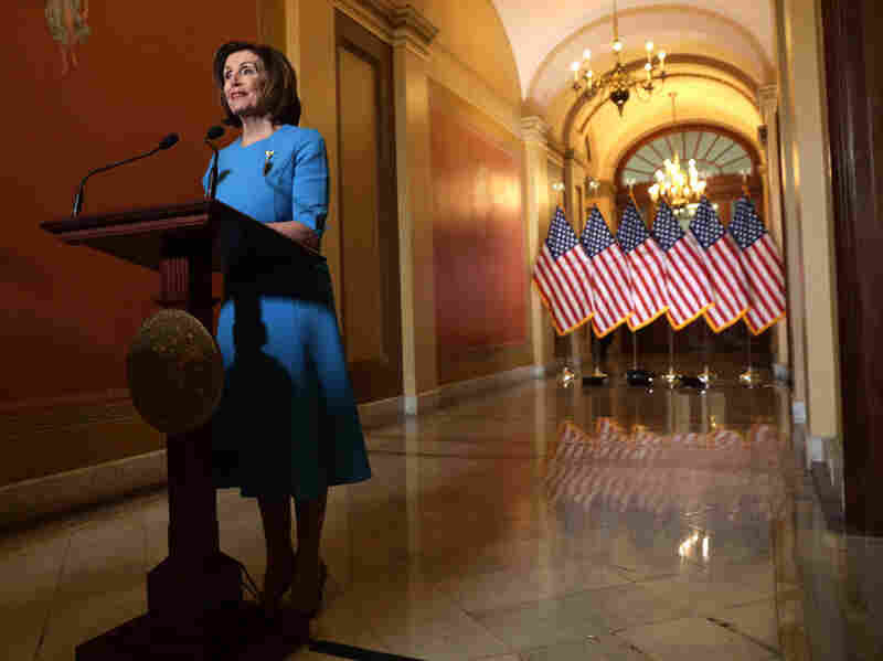 WASHINGTON, DC - MARCH 13: U.S. Speaker of the House Rep. Nancy Pelosi (D-CA) makes a statement at the U.S. Capitol March 13, 2020 in Washington, DC.