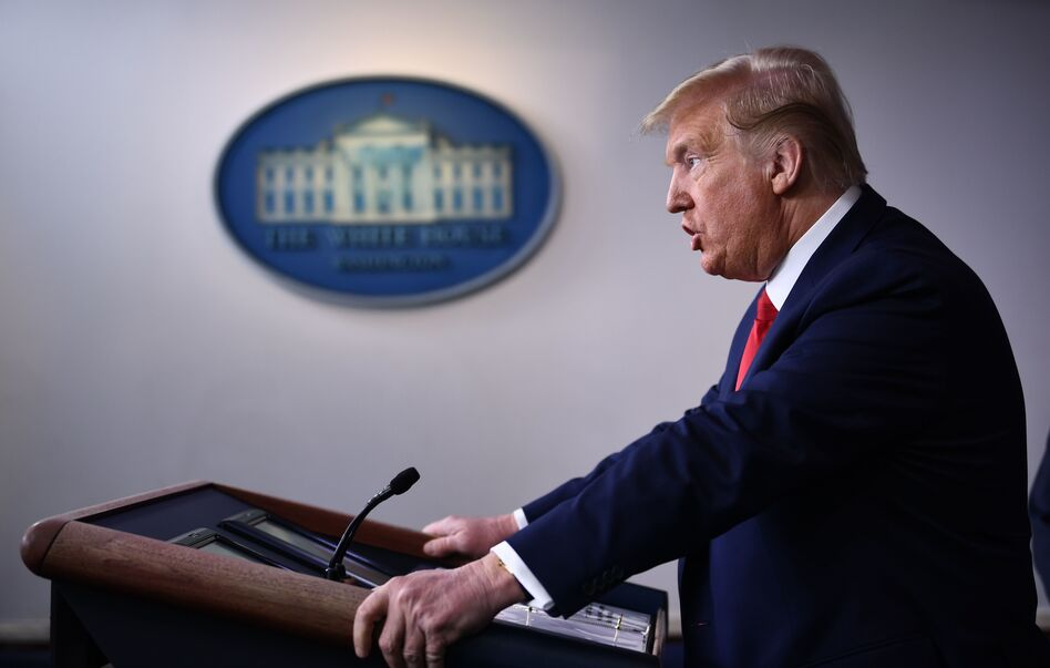 President Trump holds the daily briefing on the coronavirus at the White House on Wednesday. (Brendan Smialowski/AFP via Getty Images)