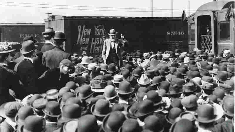 Eugene V. Debs speaks to supporters during his presidential campaign, 1908. This was his third campaign for president.