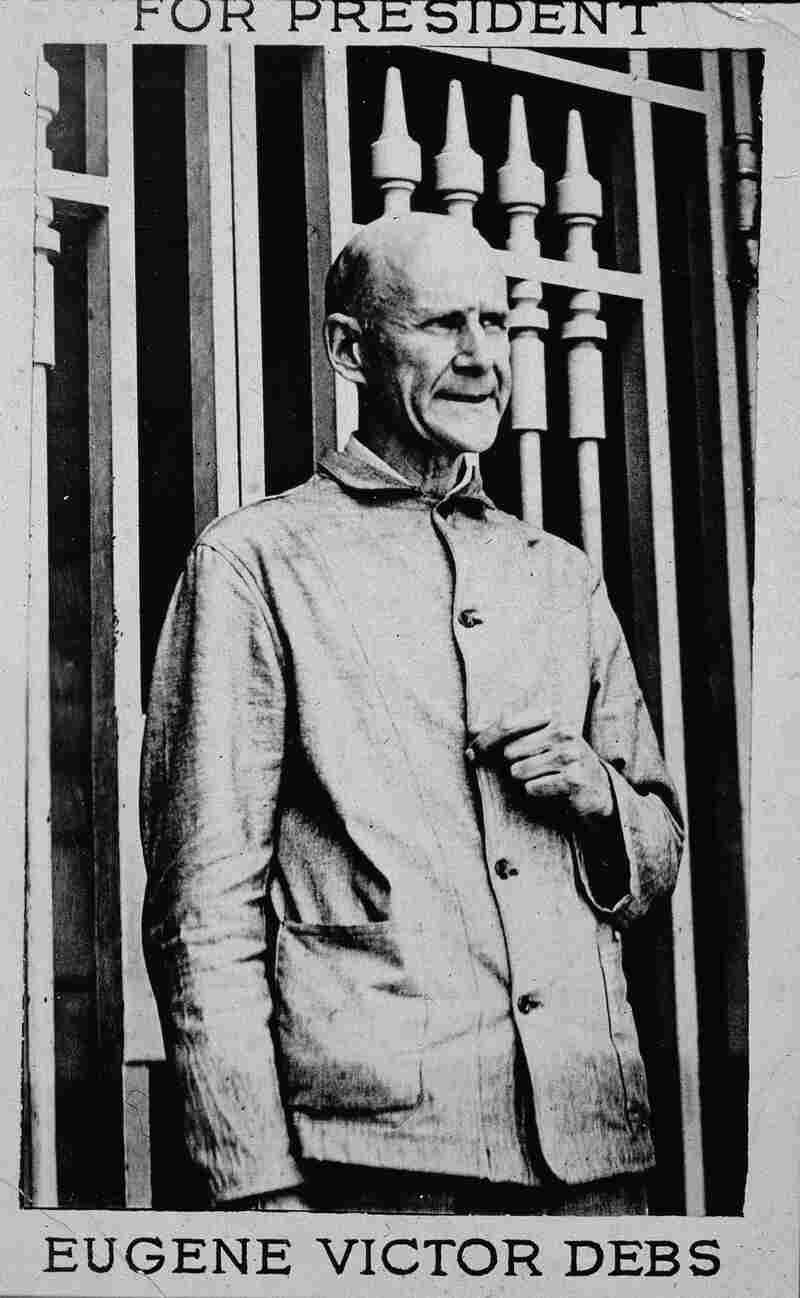 A postcard for presidential candidate Eugene V. Debs for the 1920 U.S. presidential campaign. Debs ran his campaign from his prison cell in Atlanta and was able to garner close to a million votes.