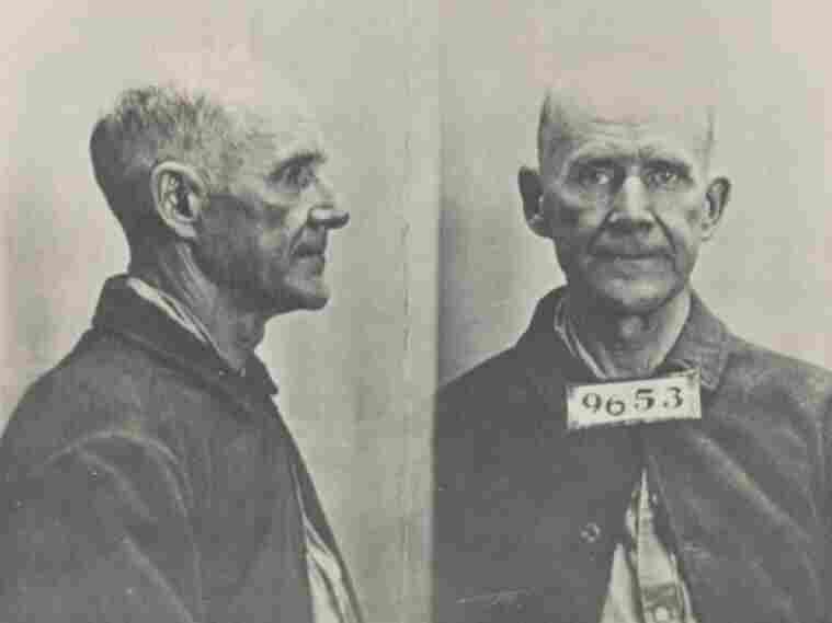 A mugshot of Eugene V. Debs with his prisoner number in 1920. He was imprisoned in the Atlanta Federal Penitentiary for speaking out against the draft during World War I.