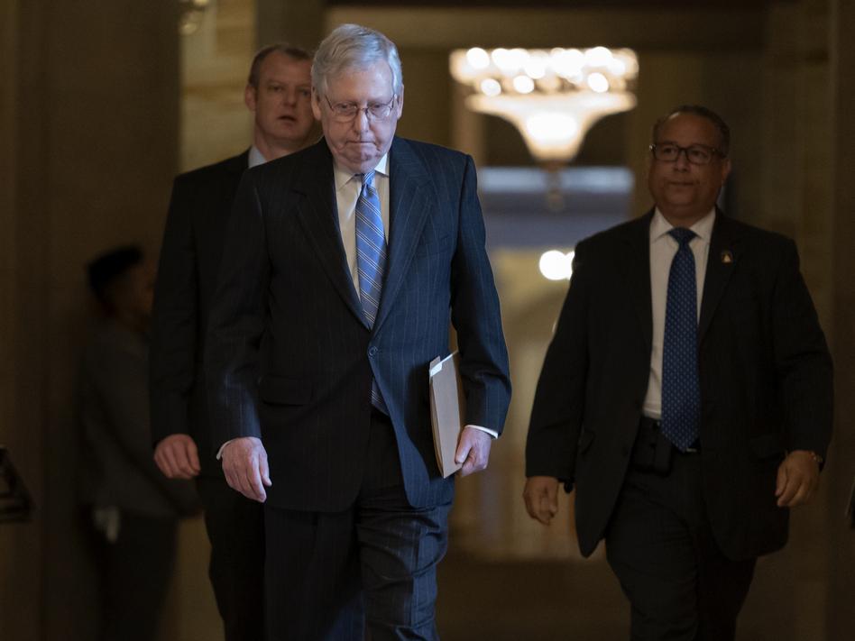 Senate Majority Leader Mitch McConnell, R-Ky., released a GOP-led coronavirus response bill Thursday. (J. Scott Applewhite/AP)