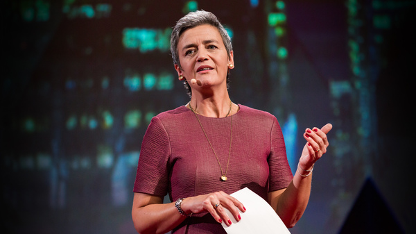 Margrethe Vestager on the TED stage.