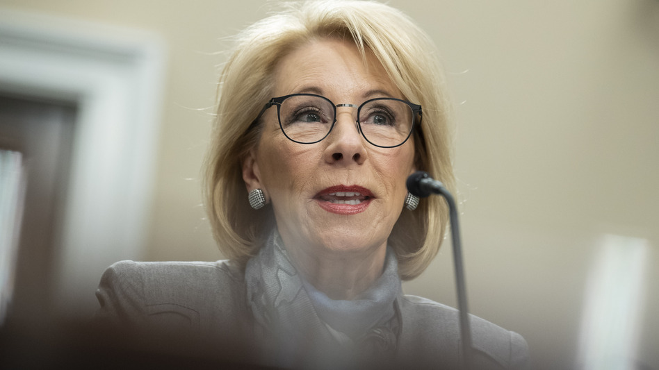 U.S. Education Secretary Betsy DeVos testifies at a Feb. 27 hearing on Capitol Hill. (Alex Brandon/AP)