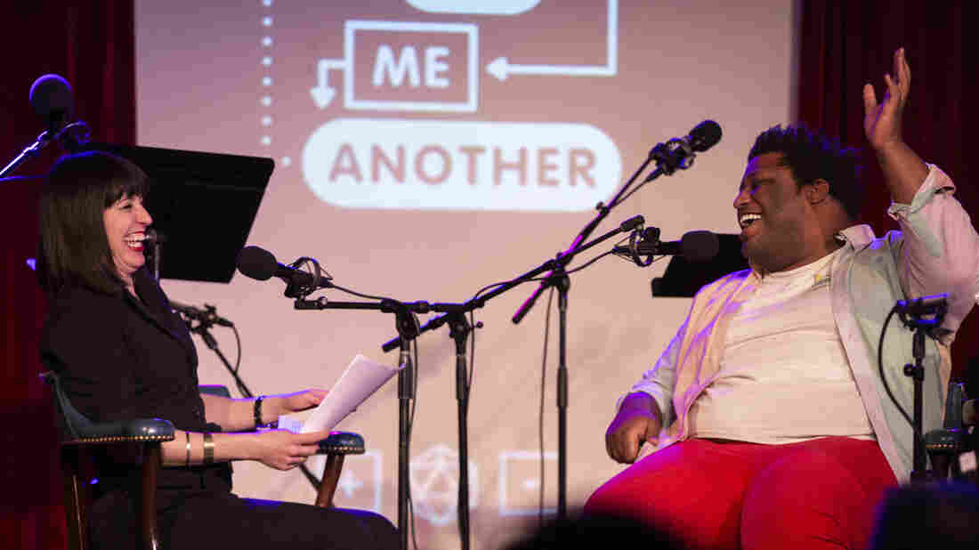 Ophira Eisenberg and Larry Owens on Ask Me Another at the Bell House in Brooklyn, New York.