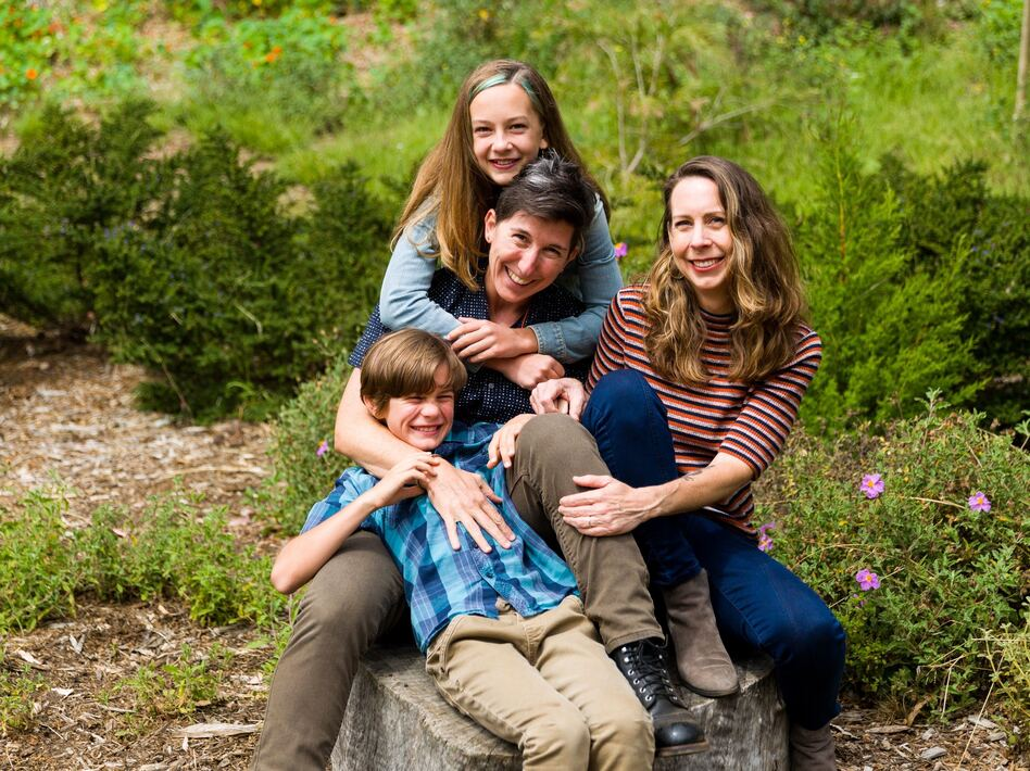 Candace Palmerlee (right), with her wife Toddy Fineberg and their kids Ellery and Cyrus Brownlee. (Sarah Deragon)