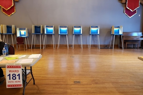 An empty polling place in Milwaukee last month, during a state and local primary election. Wisconsin is pushing forward with its April 7 election despite the ongoing coronavirus pandemic.