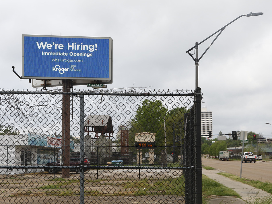 Kroger advertises it's hiring on a billboard in Jackson, Miss., on Monday. (Rogelio V. Solis/AP)