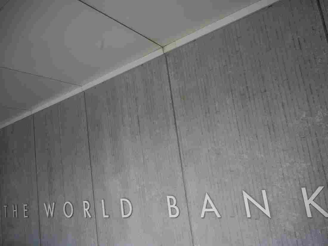 The World Bank Group logo is seen on the building of the Washington-based global development lender in Washington on January 17, 2019.