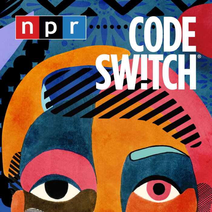 abstract art of a person's face, NPR logo, and title text