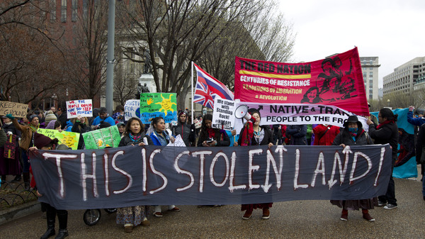 Native American tribes and their supporters protested against the Dakota Access Pipeline. This rally was outside the White House in 2017.