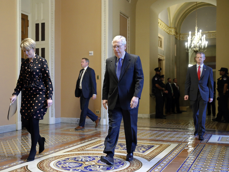 Senate Majority Leader Mitch McConnell of Kentucky walks to the Senate chamber on Capitol Hill in Washington, D.C., on Tuesday. (Patrick Semansky/AP)