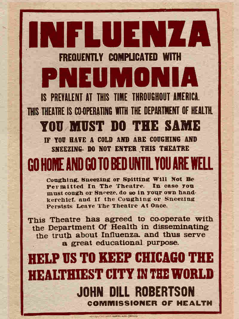 A poster lists precautions to be taken to reduce the spread of the flu of 1918.