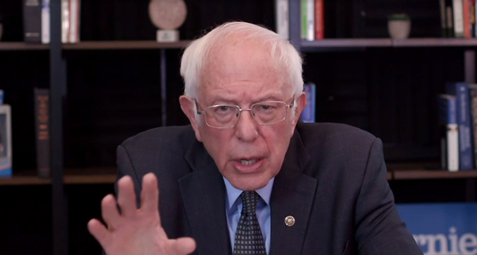 Sen. Bernie Sanders talks about his plan to deal with the coronavirus pandemic during a virtual round table with supporters on March 17. (berniesanders.com via Getty Images)