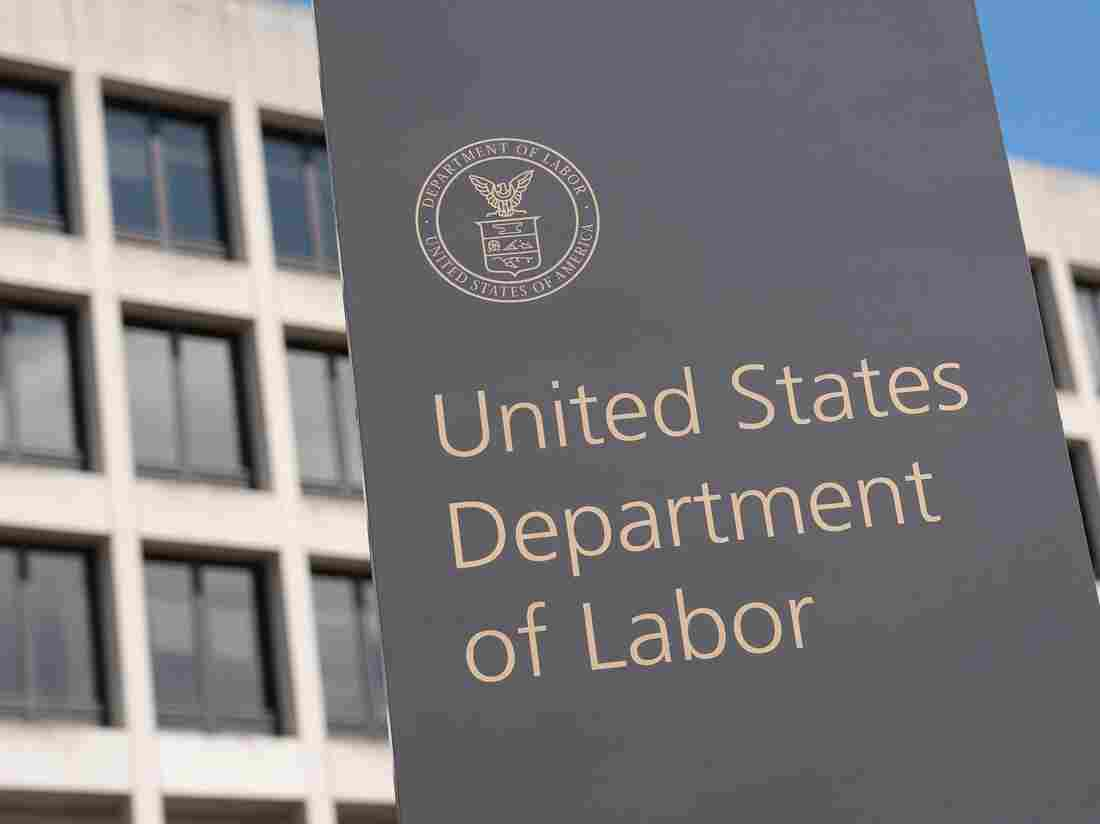 The US Department of Labor Building on March 26, 2020, in Washington, DC.