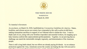 READ: President Trump's Letter To Governors On New Coronavirus Guidelines