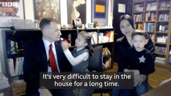 Professor Robert Kelly, his wife, Kim Jung-A, and their children Marion and James spoke to the BBC about the challenge of balancing work and family life during the coronavirus crisis.