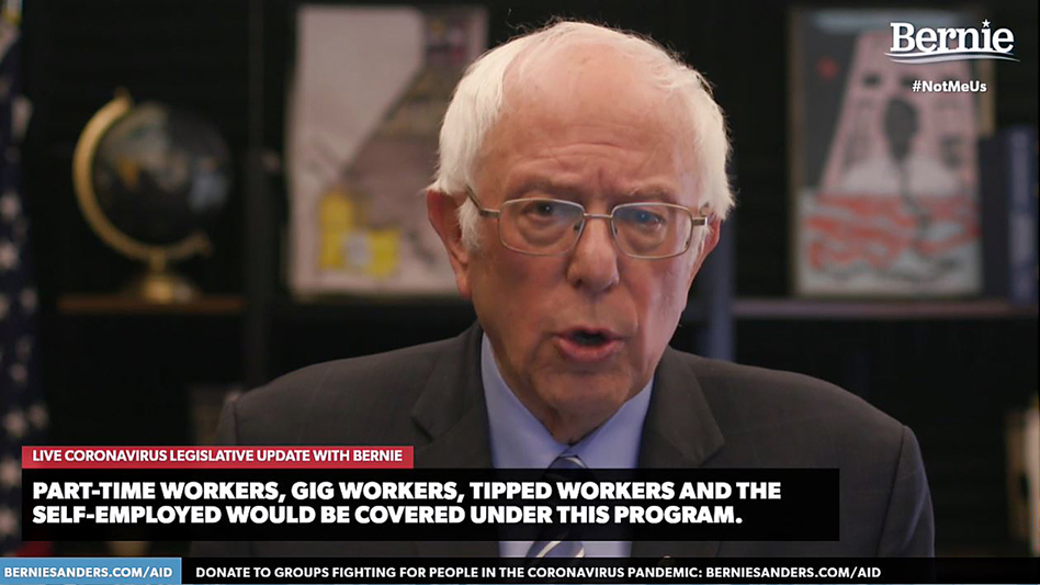 Democratic presidential candidate Bernie Sanders, U.S. senator from Vermont, talks about the coronavirus relief bill on Wednesday in one of several speeches about the crisis streamed on his campaign website. (berniesanders.com via Getty Images)