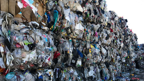 A wall of plastic trash at Garten Services in Salem, Ore., is headed to the landfill. The vast majority of plastic can