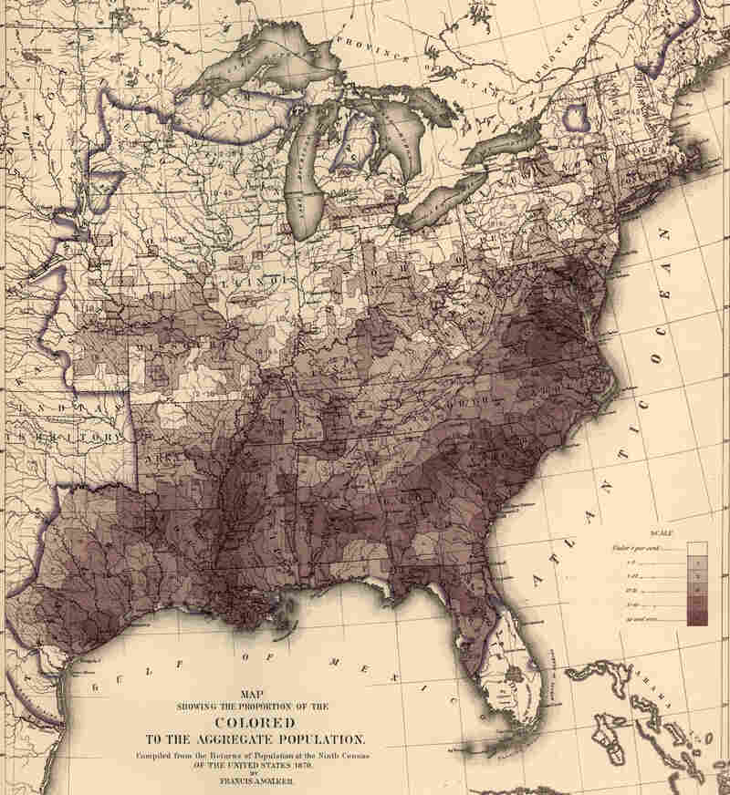 Map showing the proportion of those Americans counted as Colored to the rest of the population, based on the census data of 1870. Illustration by Francis A. Walker.