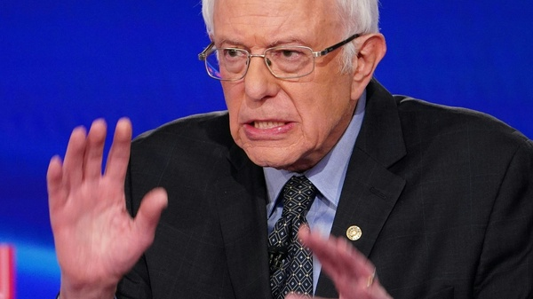 Senator Bernie Sanders makes a point during the 11th Democratic Party presidential debate in March.