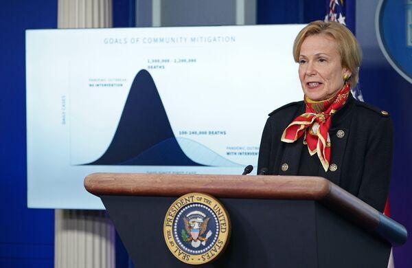 Dr. Deborah Birx, response coordinator for White House coronavirus task force, speaks during Tuesday's briefing.