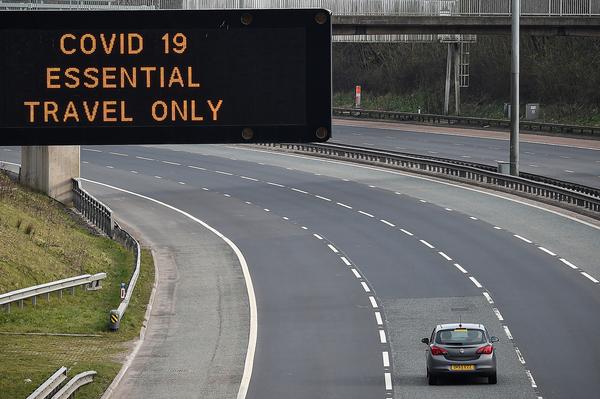 A motorway sign on the M8 motorway last week in Glasgow, Scotland.