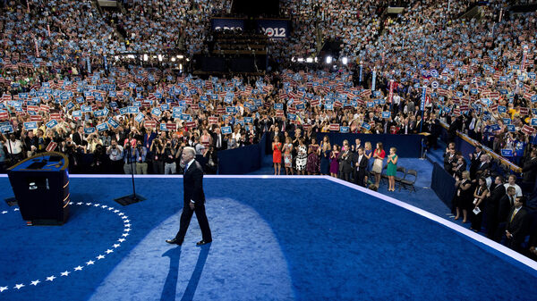 Joe Biden takes the stage at the Democratic National Convention in 2012. He said it